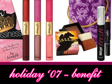 BENEFIT COSMETICS HOLIDAY 2007 GIFT SETS ANND PALETTES