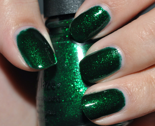 China Glaze Emerald Sparkle Nail Lacquer Review Photos Swatches