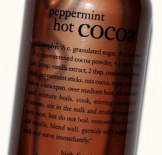 Philosophy:  Peppermint Hot Cocoa Shower Gel