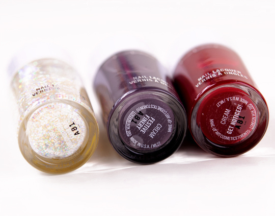 MAC Nail Lacquer:  Unconditionally Fabulous, Festive Finery, Get Noticed</