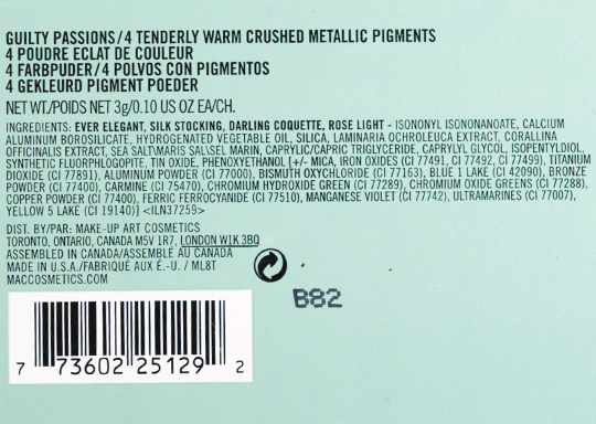 MAC Tenderly Warm Crushed Metallic Pigments Set
