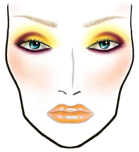 Пример макияжа от MAC.  Необходимо начинать с внутреннего уголка глаз мазками вверх.  Наружу нанести тени умеренных...