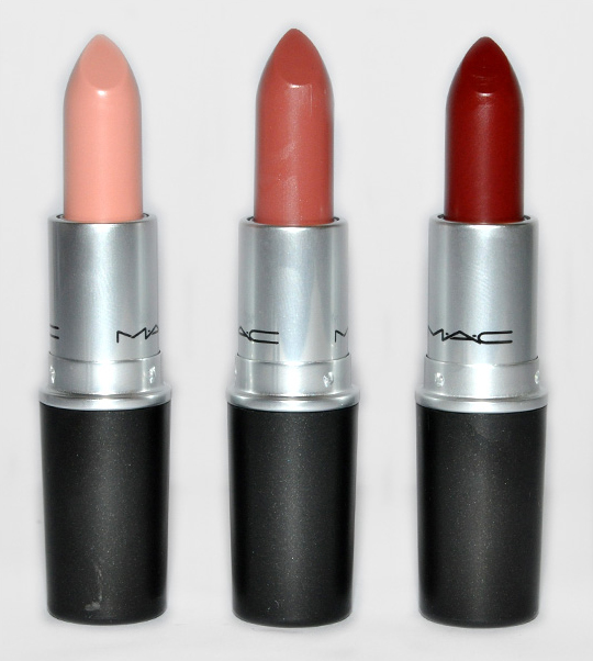 MAC Close to Real, High Def, Resolutely Red Lipsticks