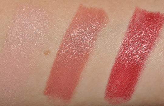 MAC Close to Real, High Def, Resolutely Red Lipsticks Swatches