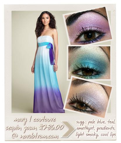 Prom 2008: Vibrant Teal & Purple Dresses & Makeup