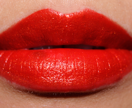 MAC Ruffian Gold layered over Ruffian Red Lipstick