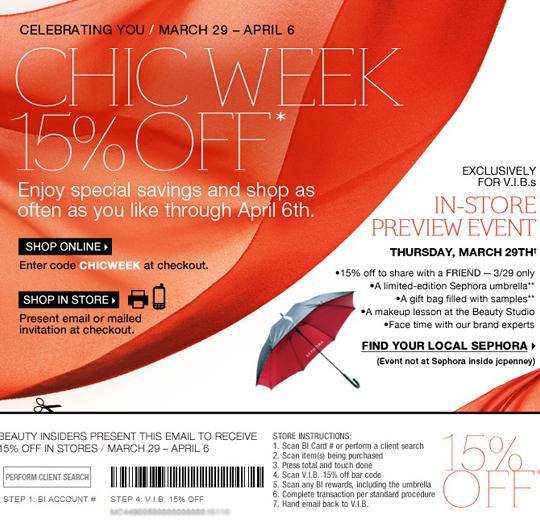 d20a2ebce6 Sephora Chic Week 15% off for VIB Members & BI Members