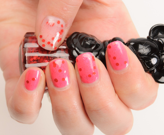 Anna Sui x Minnie Mouse Passion Red (400) over Neon Pink (300) Nail Color