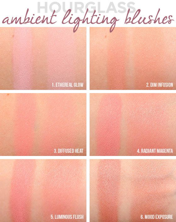 Hourglass Ambient Lighting Blush Comparisons