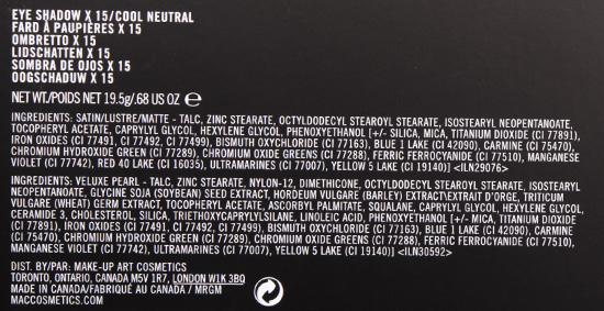 MAC Eyeshadow x 15/Cool Neutral Palette