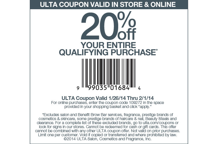Ulta Coupon & Promo Codes. 36 coupons. 6 added today, 20 this week. 20% off. 20% off any purchase when approved for the Ulta credit card. Ends Dec. 31, As coupon experts in business since , the best coupon we have seen at layoffider.ml was for 20% off in December of