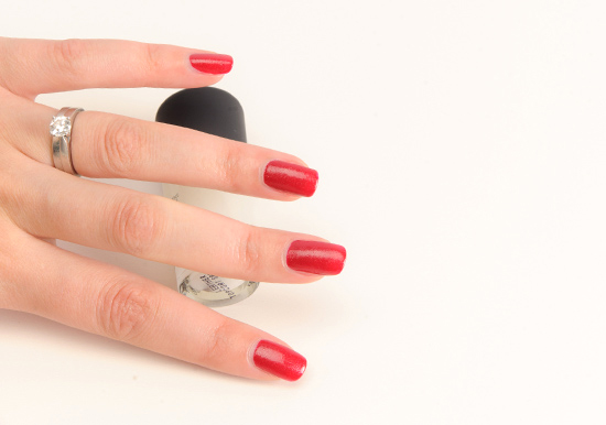MAC Texturize over Sour Cherry Nail Lacquer