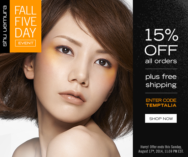 shu uemura 15% off Fall Five Day Event