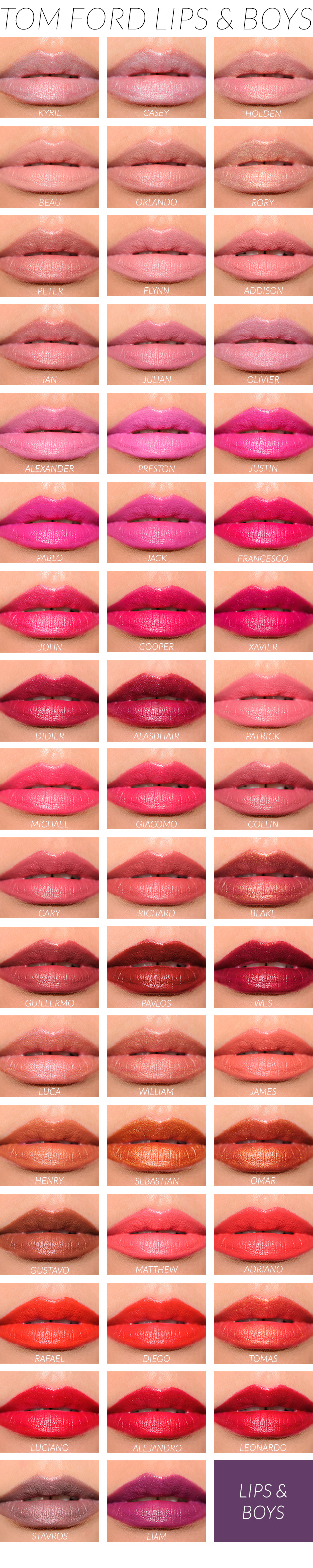 bonus tom ford lips boys lip swatches by color