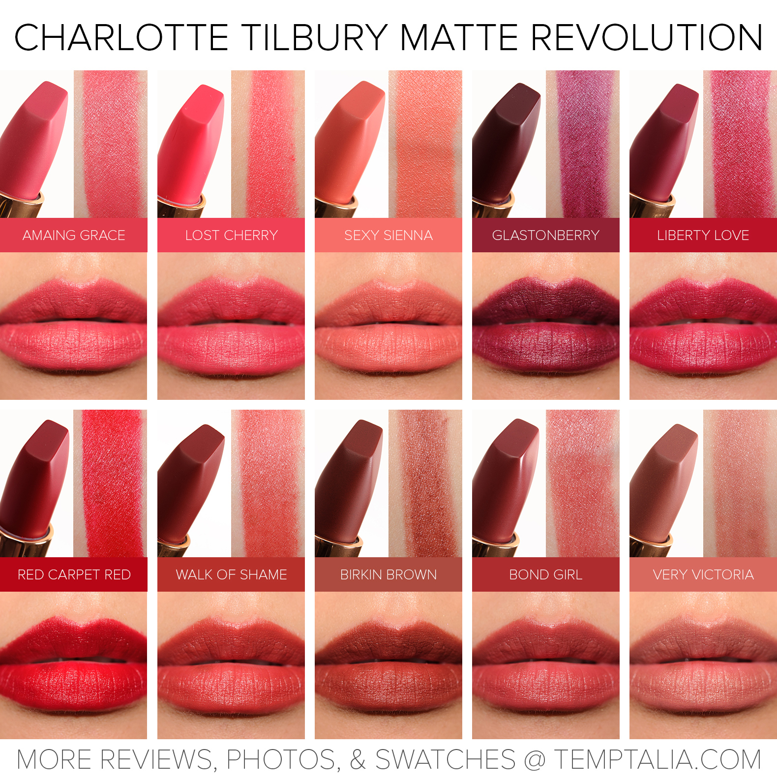 Sneak Peek: Charlotte Tilbury Matte Revolution Lipsticks Photos u0026 Swatches