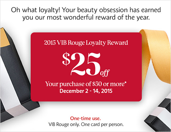 Sephora 2015 Holiday Reward Cards for BI, VIB, VIB Rouge ($15-$23 ...