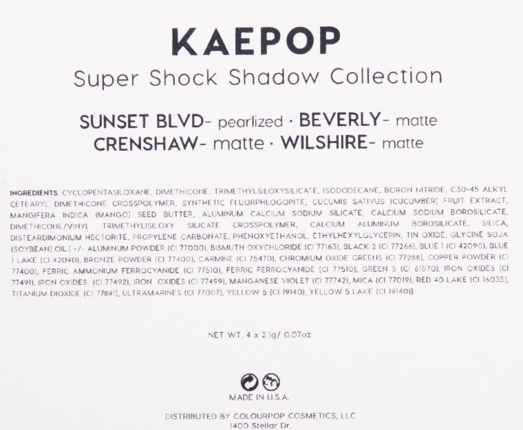 ColourPop KaePop Super Shock Shadow Set