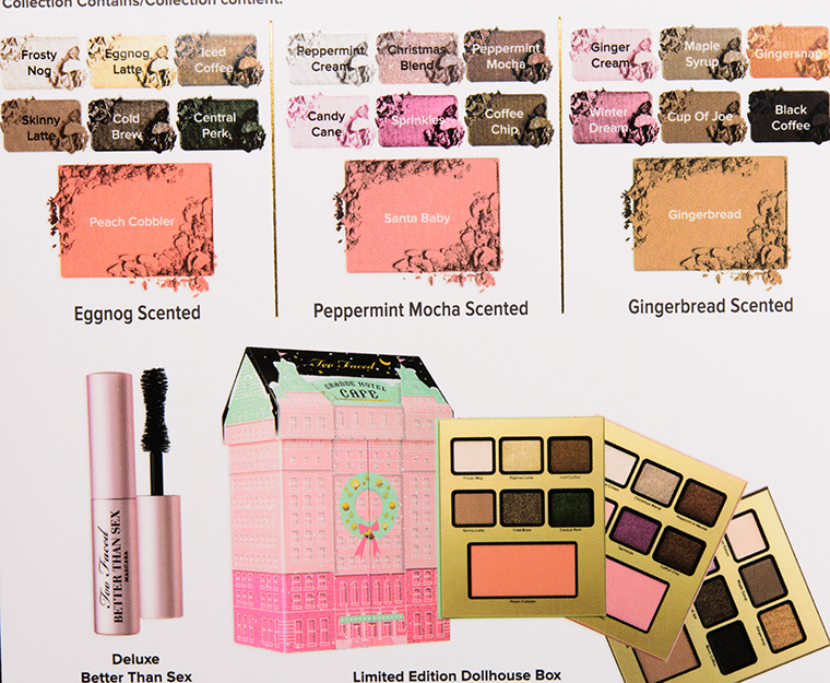 Too Faced Grand Hotel Cafe Swatches
