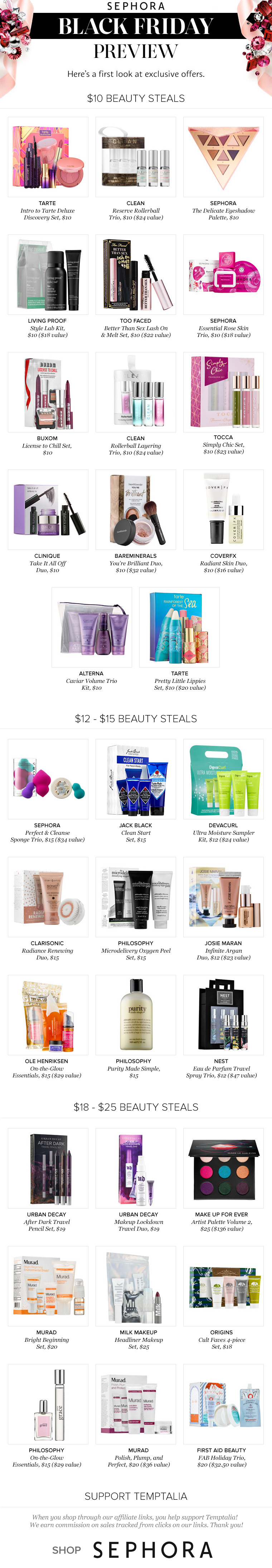 Sephora Black Friday 2016: $10, $15, $20 Deals
