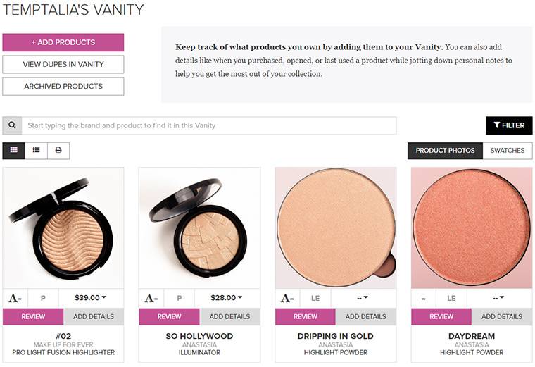 MyTemptalia | Vanity & Wish List Updates