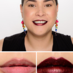 Urban Decay Seether Topcoat over Blackmail Vice Lipstick