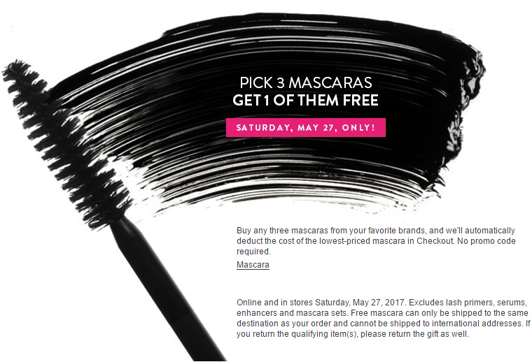 Nordstrom: Buy 2, Get 1 Free Mascara Madness (May 2017)