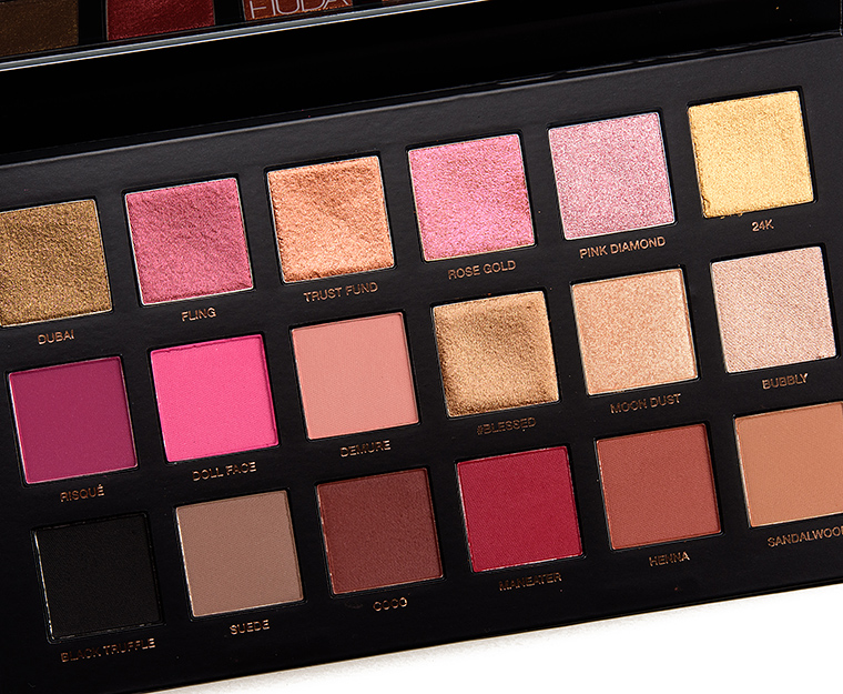 Swatches Huda Beauty Rose Gold Remastered Eyeshadow Palette