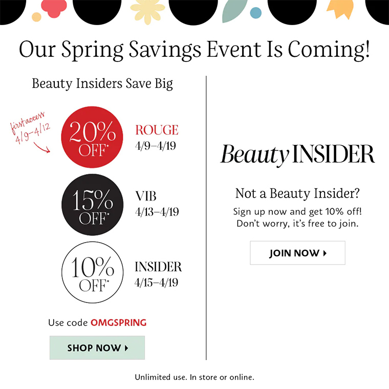 Sephora Spring Savings Event for April 2021: Dates & Codes!