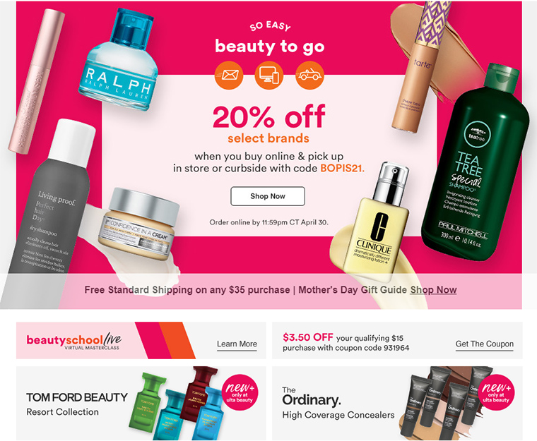 Ulta: 20% Off Select Brands