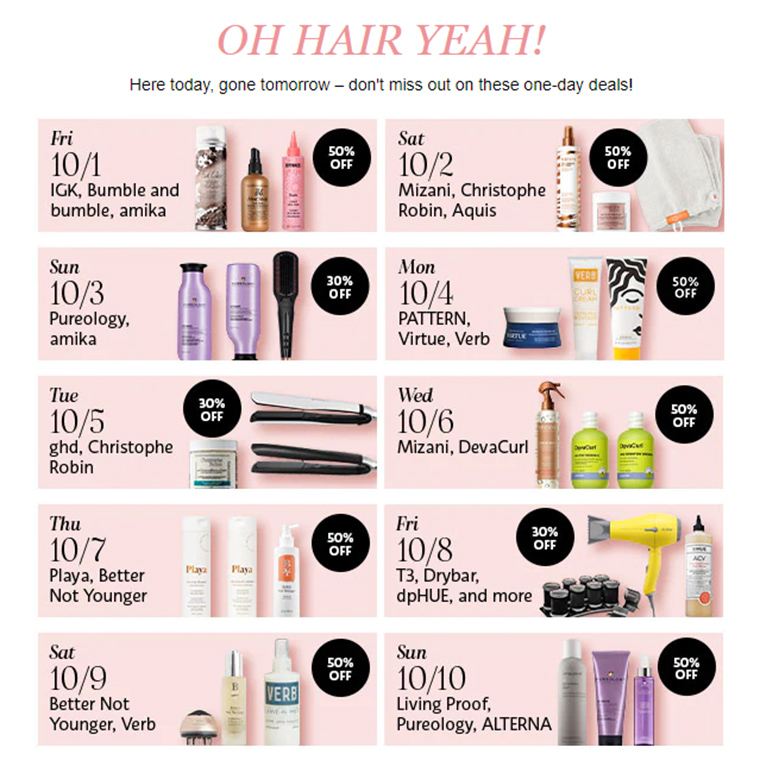 Sephora Sale: Up to 50% off Hair Care Deals 10/1 to 10/10
